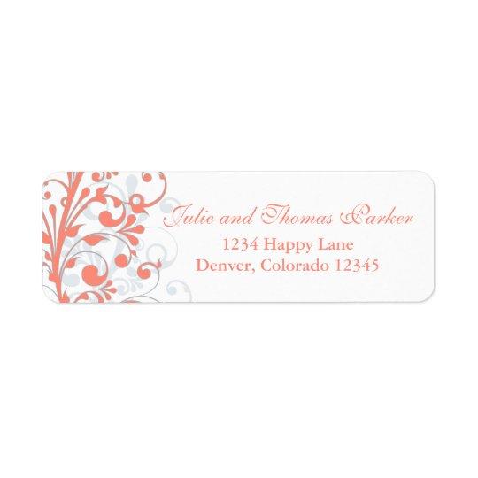 För bröllopreturadress för korall abstrakt blom- returadress etikett