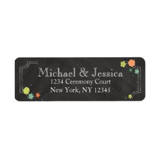För bröllopreturadress för svart tavla blom- returadress etikett