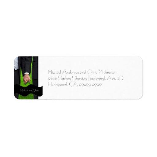 För bröllopreturadress för två brudgummar beställn returadress etikett