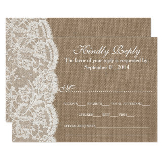 För bröllopsamling för burlapen & snöreOSA kort 8,9 X 12,7 Cm Inbjudningskort