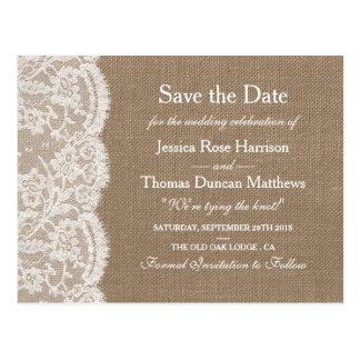 För bröllopsamling för burlapen & snörespara vykort