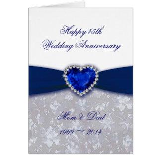För bröllopsdaghälsning för damast 45th kort