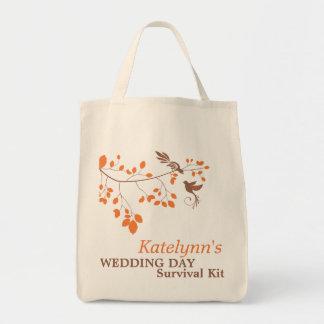 För bröllopsdagöverlevnad för orange romansk mat tygkasse