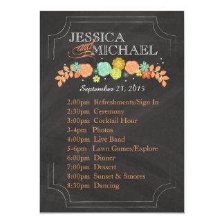 För bröllopsprogramRESPLAN för svart tavla blom- 12,7 X 17,8 Cm Inbjudningskort