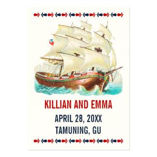 För bröllopställe för vintage nautiska kort set av breda visitkort