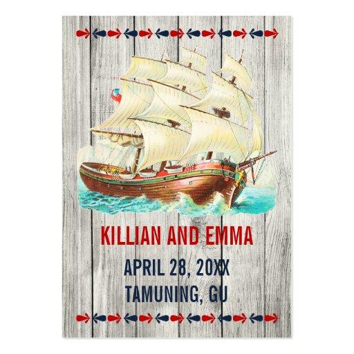 För bröllopställe för vintage nautiska kort visitkort