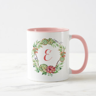 För bröllopsuckulent | för vintage blom- Monogram