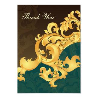 för brölloptack för aqua guld- kort personliga inbjudningskort