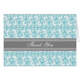 För brölloptack för blått grått damastast kort
