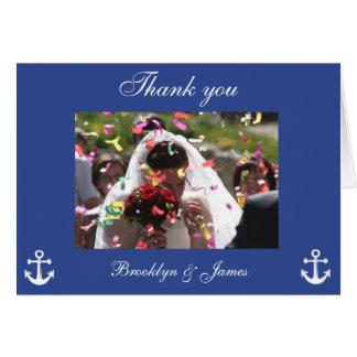 För brölloptack för blått nautiska kort med bilden