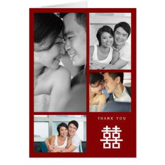 För brölloptack för dubbel lycka kinesiskt kort