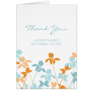 För brölloptack för orange blått blom- kort