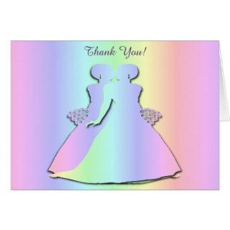 För brölloptack för pastellfärgad regnbåge hälsningskort