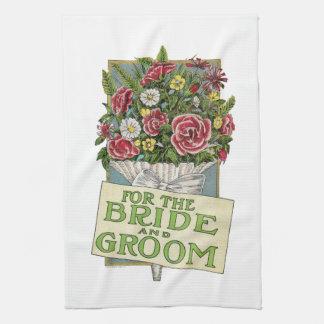 För bruden och brudgummen Vintage-Stil blommor Kökshandduk