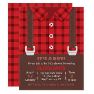 För buffelpläd för Lumberjack röd dusch för pojke 10,8 X 14 Cm Inbjudningskort