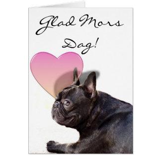 För bulldogghälsning för lycklig mors dag franskt  hälsnings kort