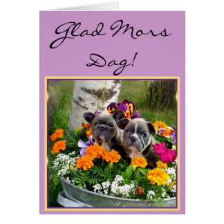 För bulldogghälsning för lycklig mors dag franskt  kort