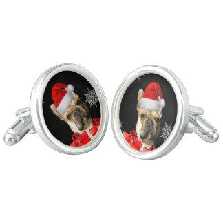 För bulldogghund för jul franska cufflinks