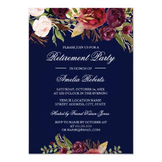 För Burgundy för marin rött party blom- pension 12,7 X 17,8 Cm Inbjudningskort