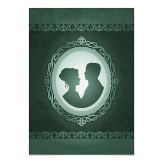 För Cameobröllop för irländare gröna inbjudningar