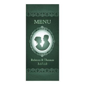 För Cameobröllop för irländare gröna kort för meny 10,2 X 23,5 Cm Inbjudningskort