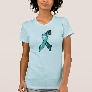 För cancermedvetenhet för kricka Ovarian band och Tee