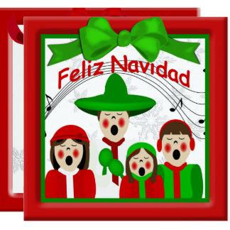 För Carolersfamilj fyra för jul mexicansk hälsning Fyrkantigt 13,3 Cm Inbjudningskort
