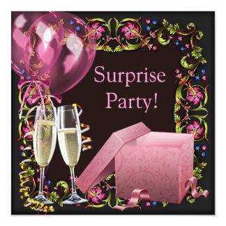 För champagneballonger för rosor svart party för fyrkantigt 13,3 cm inbjudningskort