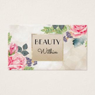 För champagneFaux för elegant rosa ros blom- guld Visitkort