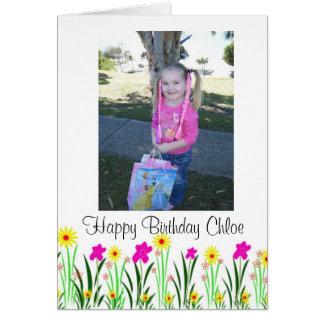 För Chloe för ljus vår blommor beställnings- gåva Hälsningskort