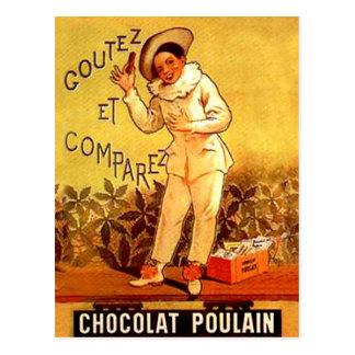 För chokladclown för vintage franska sällskapsspel vykort