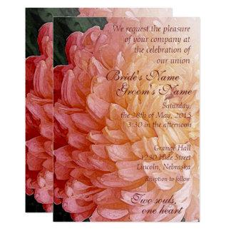 För Chrysanthemumbröllop för vattenfärg rosa 12,7 X 17,8 Cm Inbjudningskort