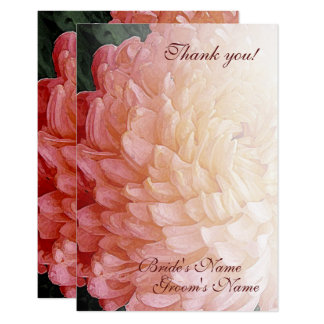 För Chrysanthemumbröllop för vattenfärg rosa tack 8,9 X 12,7 Cm Inbjudningskort
