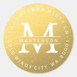 För cirkulärreturadress för beställnings- Monogram Runt Klistermärke