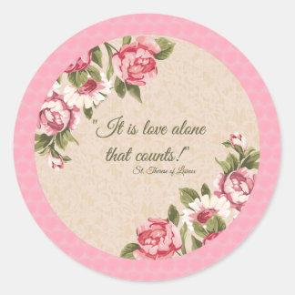 För citationsteckenro för St. Therese rosor för Runt Klistermärke