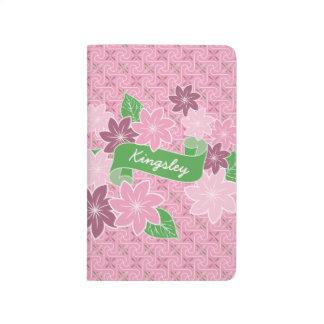 För Clematisgrönt för Monogram rosa Japan för Anteckningsbok