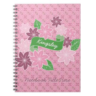 För Clematisgrönt för Monogram rosa Japan för Anteckningsbok Med Spiral