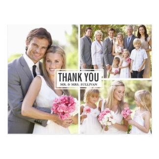 För Collagebröllop för tre foto vykort för tack