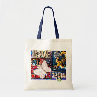 För Collagedesign för abstrakt kärlek Retro vintag Budget Tygkasse