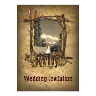 för cowboybröllop för westernt land inbjudan för
