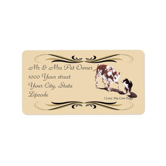 För Cowdog för australian shepherd svart etikett Adressetikett