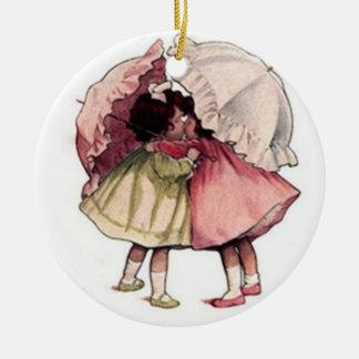 För dagflickor för vintage regnig prydnad julgransprydnad keramik