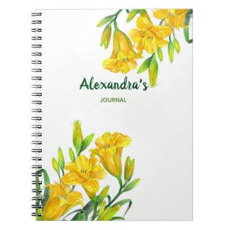 För dagliljar för vattenfärg gul illustration för anteckningsbok med spiral