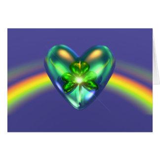 För dagShamrock för St. Patricks hjärta Hälsningskort