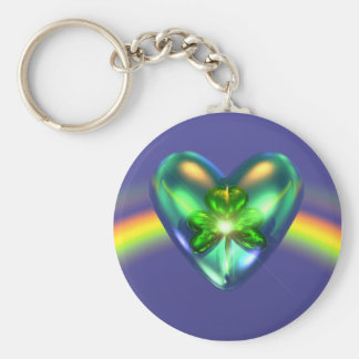För dagShamrock för St. Patricks hjärta Rund Nyckelring