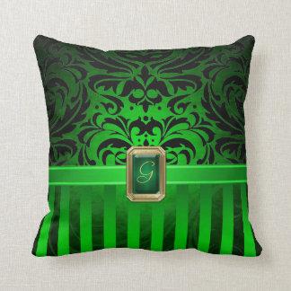 För damastgrönt för royal svart juvel för Faux för Kudde