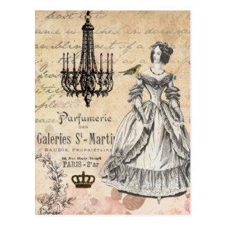 För damshabby chic för vintage fransk vykort