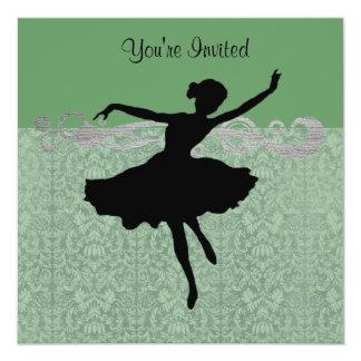För dansparty för grön vintage damastast inbjudan