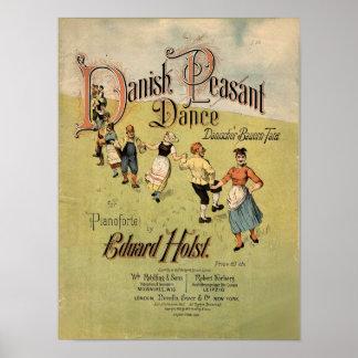 För dansvintage för danska bondaktig notblad poster