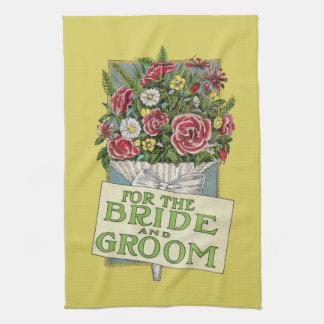 För de gula Vintage-Stil för brud & för brudgum bl Kökshandduk